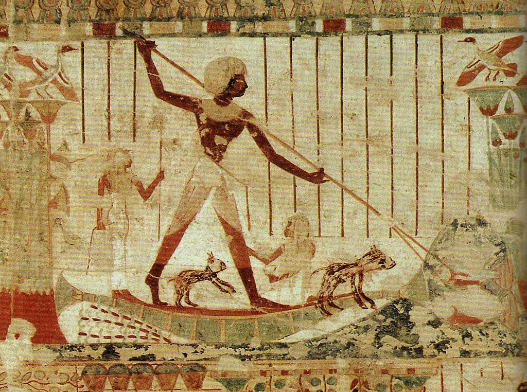 Spear fishing depicted in a wall painting from the tomb of Usheret in Thebes, 18 Dynasty around 1430 BC