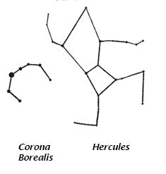 Stars forming the constellations Corona Borealis and Hercules.