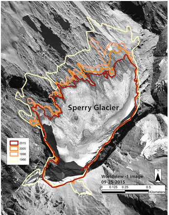Aerial photograph with outlines showing changes over 50 years in the perimeter of Sperry Glacier in Glacier National Park during late summer in 1966, 1998, 2005, and 2015. US Geological Survey