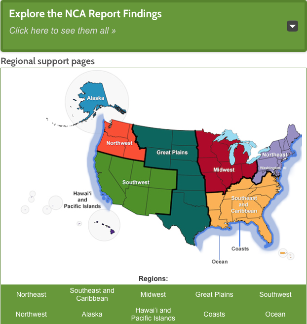 Example of educational resources for teachers by region. National Climate Assessment (NCA) Teaching Resources