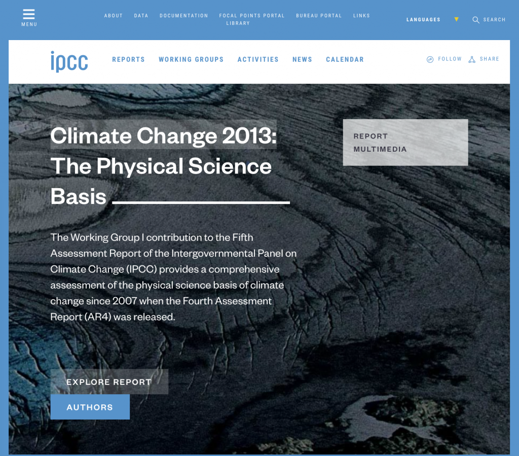 IPCC Fifth Assessment Report: The Physical Science Basis.