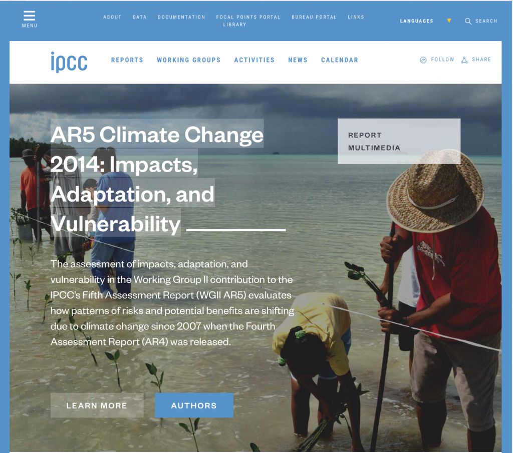 IPCC Fifth Assessment Report: Impacts, Adaptation, and Vulnerability.