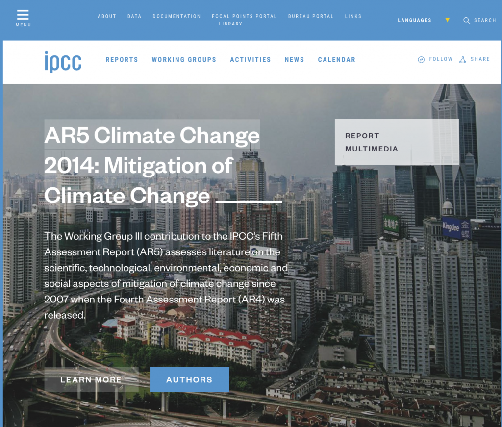 IPCC Fifth Assessment Report: Mitigation of Climate Change