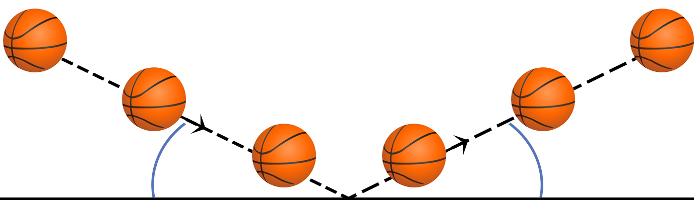 A ball rebounding from a surface.