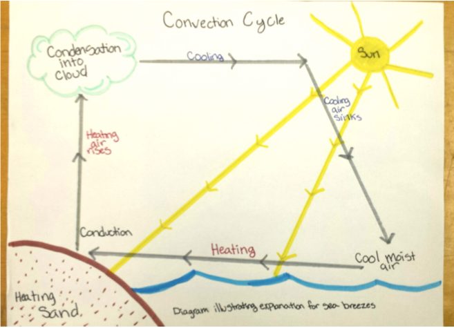 Student's diagram explaining why clouds and sea breezes often appear in the afternoon after a sunny day at the beach.