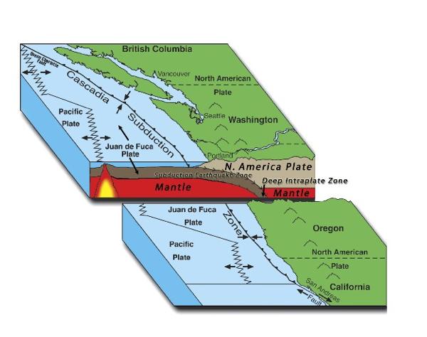 Model of Juan de Fuca Plate subsiding under the North American Plate.