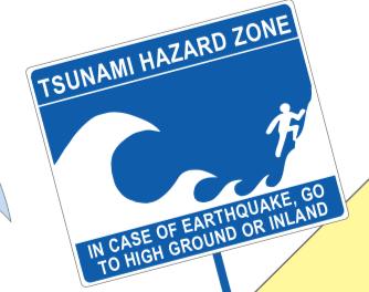 Tsunami danger alert sign.