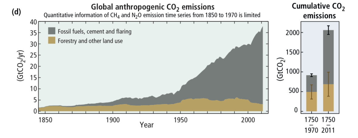 Global CO2 emissions due to human activity.