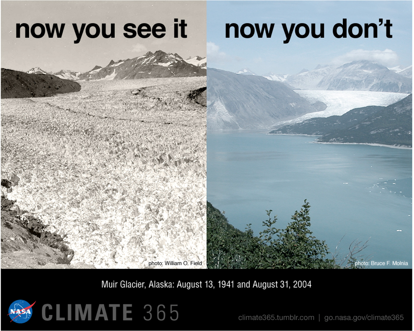 Photographs of Muir Glacier, Alaska, in 1941 and 2004.