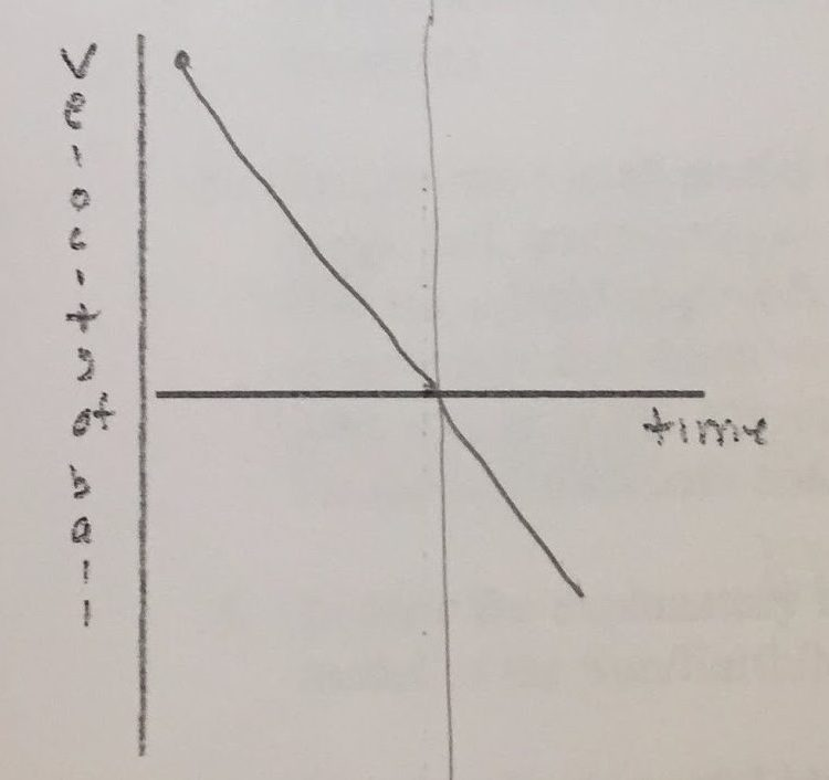 Student graph of observed velocity versus time for tossed ball.