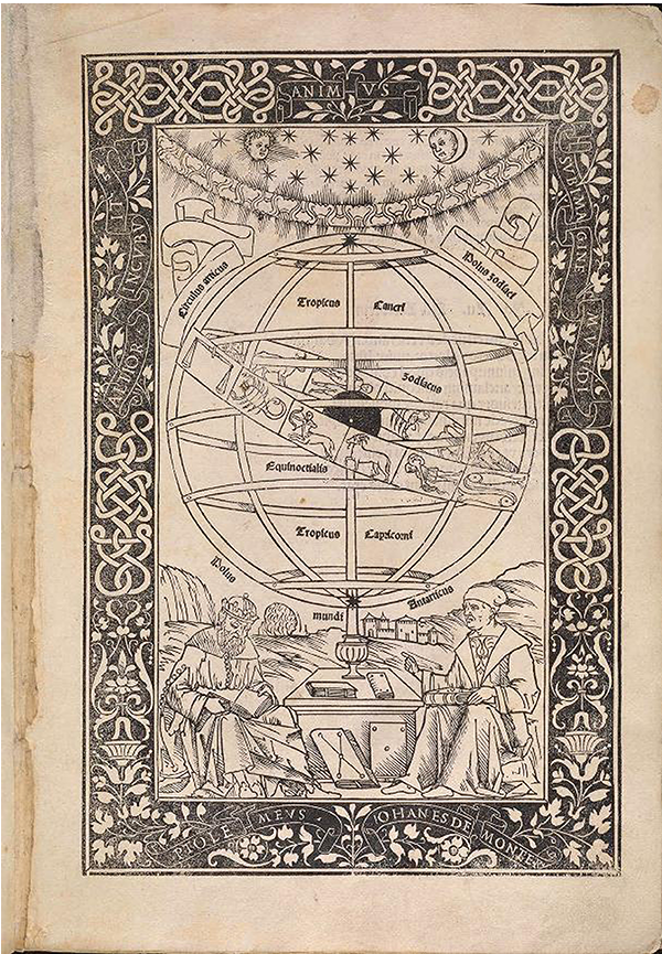 Illustration of the zodiac on a celestial sphere in Epitome of the Almagest, 1496.