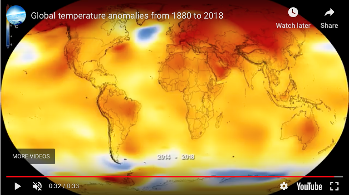 Global temperature anomalies from 1880 to 2018