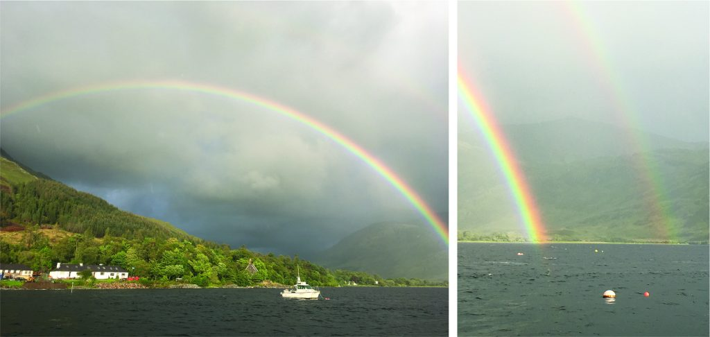 A rainbow! Images by Katrina van Zee from a sailboat in Loch Nevis, Scotland.