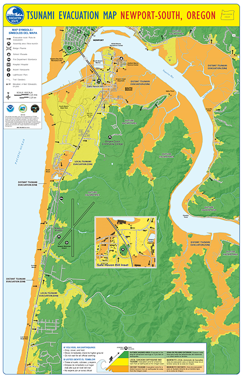 Tsunami evacuation map for South Newport, OR