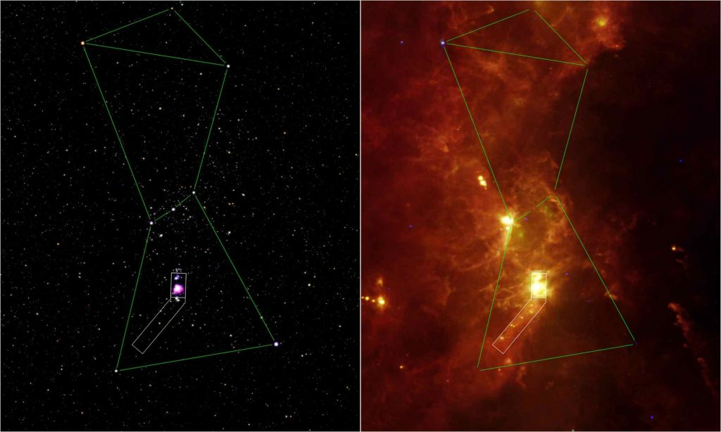 Visible light image (left) and infrared image (right) of the constellation known as Orion, the Hunter.