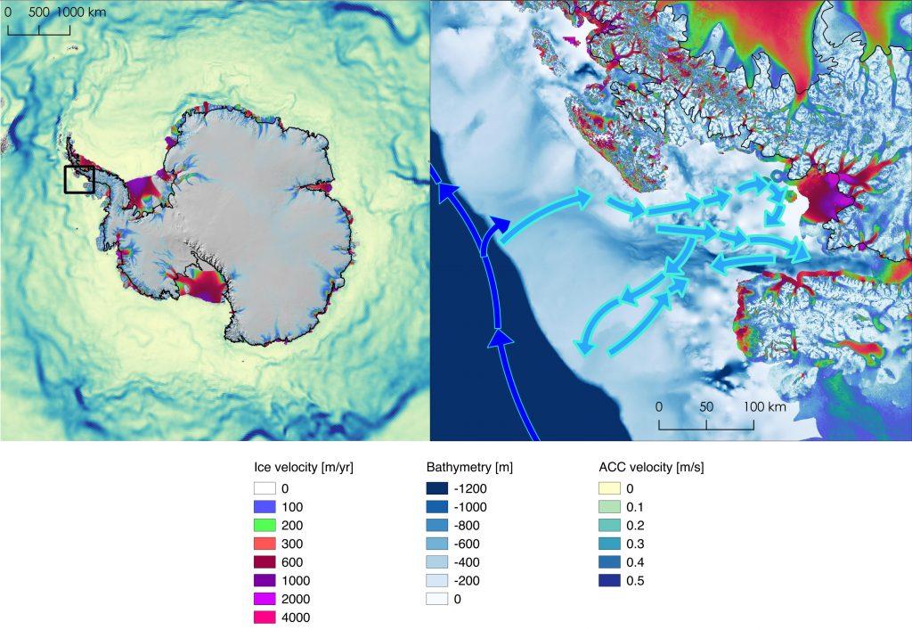 Velocity of glaciers flowing toward the Antarctic Ocean. Credit: NASA/JPL-Caltech.