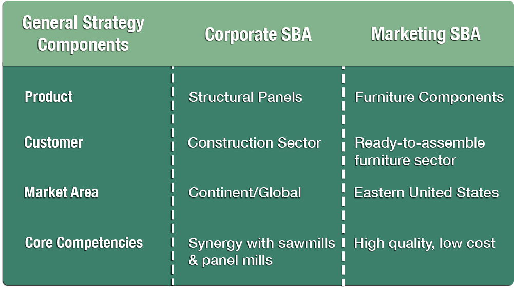 Illustration of Differences Between Corporate and Marketing Strategies
