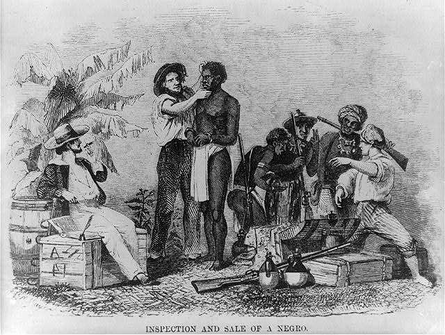 1854 reproduction of a wood engraving depicting inspection sale.
