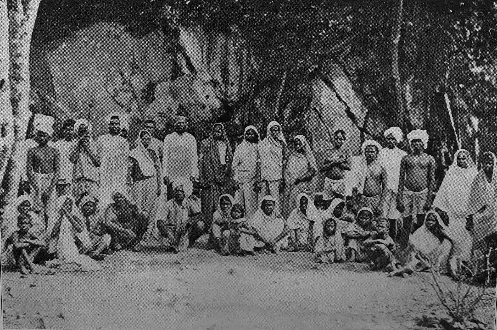 A photograph of newly arrived Indian coolies in Trinidad, circa 1897.