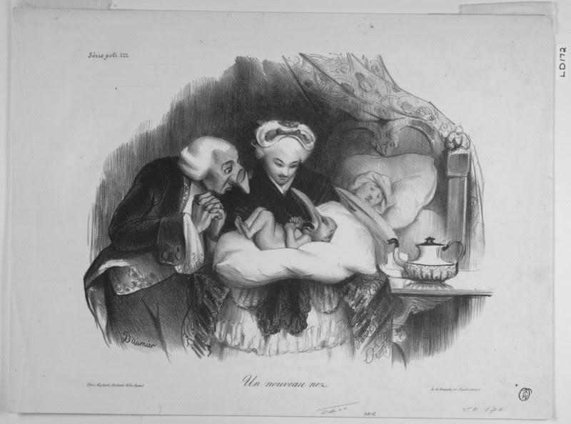 """""""Un Nouveau Nez,"""" (""""A New Nose""""), a caricature by Honore Daumier, 1833."""