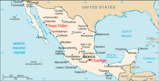Locations of Norman Borlaug's research stations in Mexico.