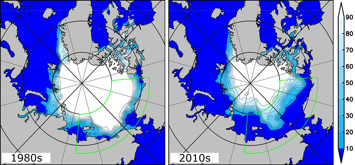 Arctic sea ice concentration in percent during the 1980s (left) and 2010s (right) estimated from satellite observations. From https://phys.org.