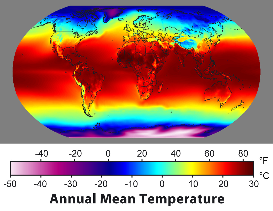 Annual mean surface temperature distribution. From wikimedia.org.