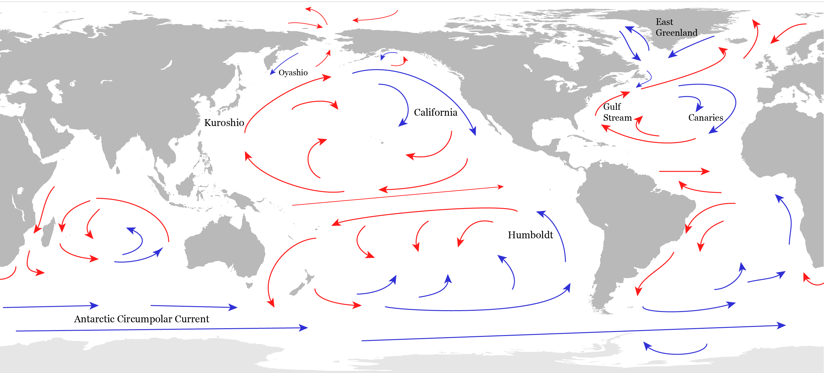 Sketch of the Surface Circulation of the Ocean. After Peixoto and Oort (1992).