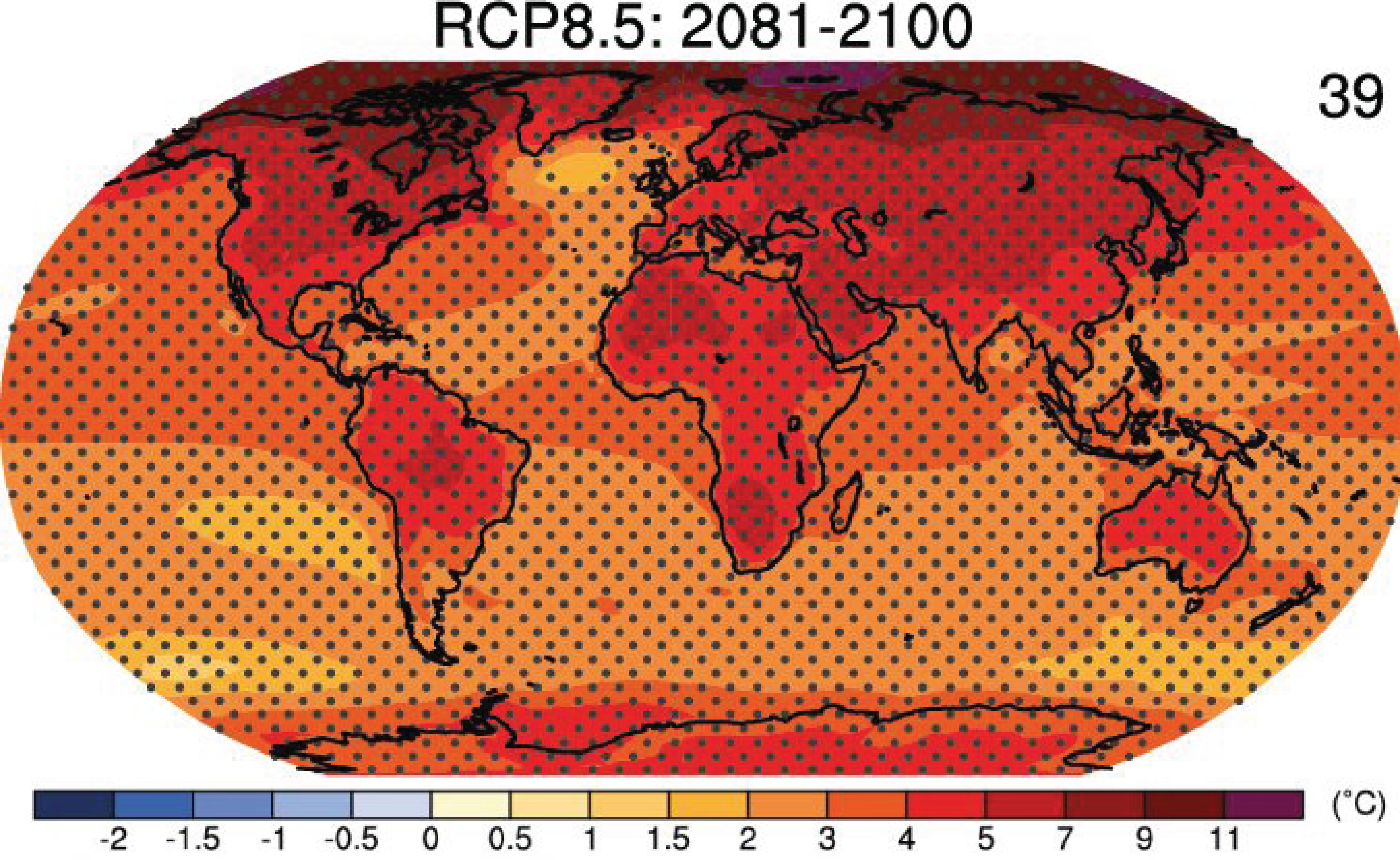 Surface temperature changes projected for the business-as-usual scenario RCP8.5 at the end of the 21st century. Stippling indicates regions of highly significant changes, where the multi model mean is larger than two standard deviations of modeled internal variability and where at least 90% of models agree on the sign of the change. Click on the map to see projections for other scenarios and times. From ipcc.ch.