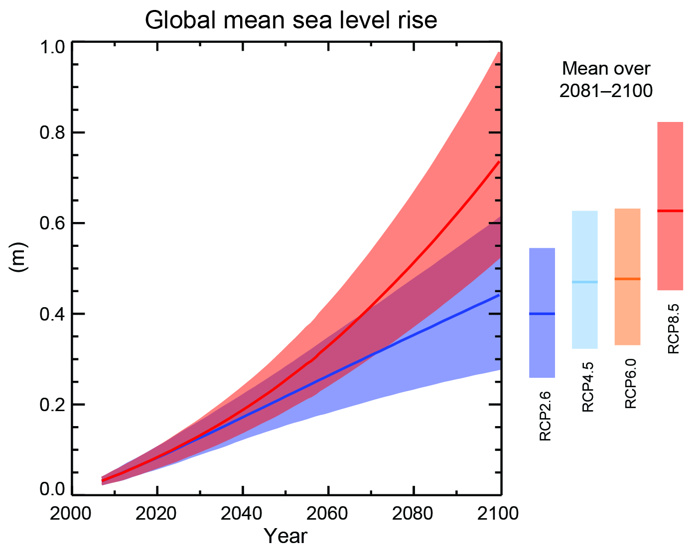 Global sea level rise projected for the 21st century. The blue and red curves show projections for scenarios RCP2.6 and RCP8.5, respectively. The shading indicates the likely (66-100%) uncertainty range. Bars on the right show the 2081-2000 averages for four scenarios. From ipcc.ch.