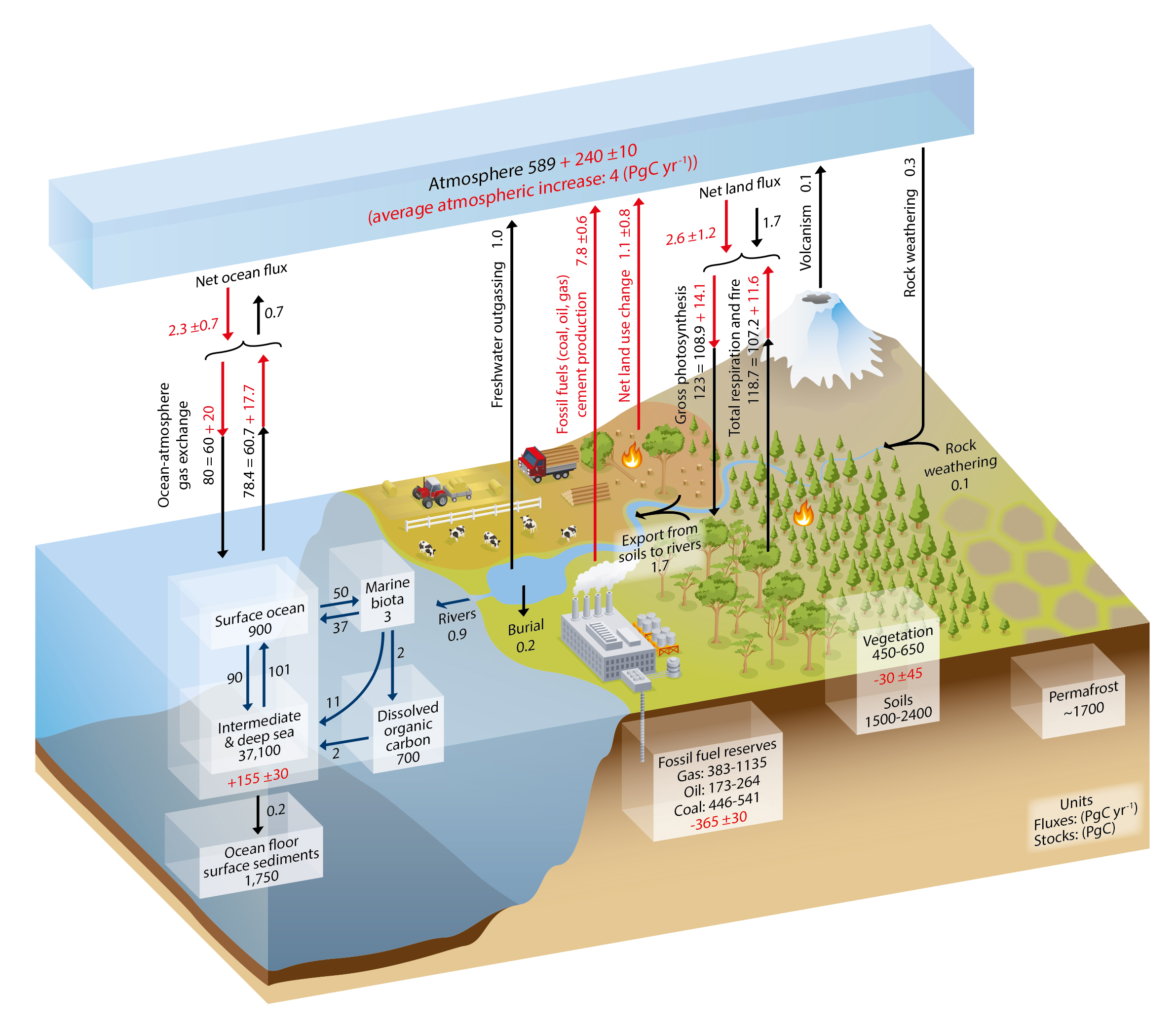 The Carbon Cycle. Numbers in boxes represent reservoir mass, also called carbon stocks, inventories, or storage in PgC (1 Pg = 1015g = 1 Gt). 2.1 PgC = 1 ppm atmospheric CO2. Numbers next to arrows indicate fluxes in PgC/yr. Black numbers and arrows represent estimates of the natural (pre-industrial) carbon cycle. Red numbers and arrows indicate estimates of anthropogenic effects for 2000-2009. From Ciais et al. (2013). Image from ipcc.ch. See additional material at the end of this chapter for a figure showing the sizes of the reservoirs and fluxes in proportion to the size of the boxes and arrows.
