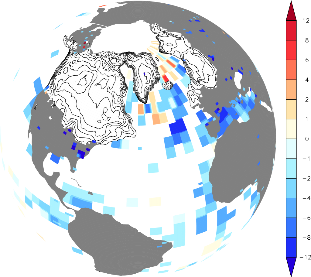 Reconstructions of ice sheets (contour lines show 500 m elevation differences) and surface temperature differences from modern (color scale in K) for the Last Glacial Maximum. From PAGES news.