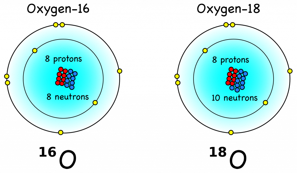Oxygen's most common (99.8%) isotope oxygen-16 (16O) has 8 protons (red) and 8 neutrons (blue) such that its mass is 16 atomic units. Oxygen-18 (18O) has two additional neutrons, which makes it (18 – 16)/16 = 12.5% heavier than 16O. It is also much rarer (0.2%) than 16O. From Montessori Muddle.