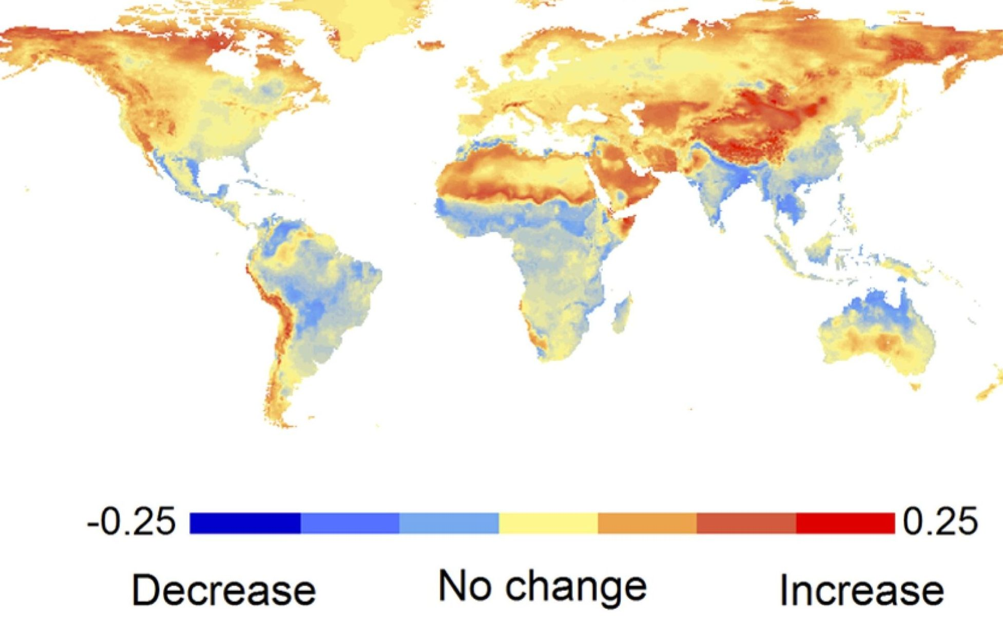 Projected change in fire probability from 1971-2000 to 2070-2099 for the high SRES-A2 emissions scenario using a statistical method and climate models. From Moritz et al. (2012).