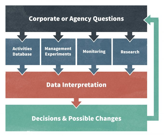 Figure 1.3. In order to make wise management decisions, monitoring is one important avenue for gaining new information. But it is not the only avenue. Formal research and management experiments also contribute to the information. Redrafted from Haynes et al. (2006).