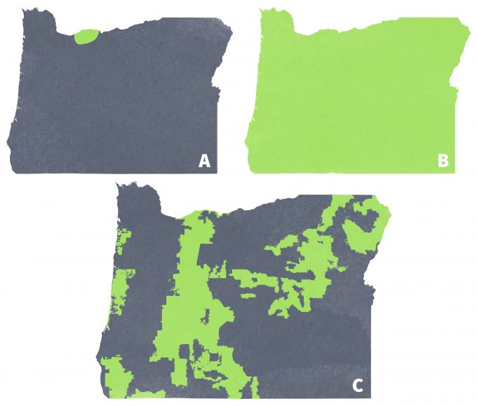 Figure 12.3 Geographic range of the Larch Mountain Salamander (A) and the Pacific Chorus frog (B) and National Forests in Oregon (C). Note that nearly the entire geographic range for Larch mountain salamander is included in the Mt Hood National Forest, but that this National Forest represents only a fraction of the geographic range for Pacific treefrogs. Range maps from Tom Titus, University of Oregon, and used with permission.