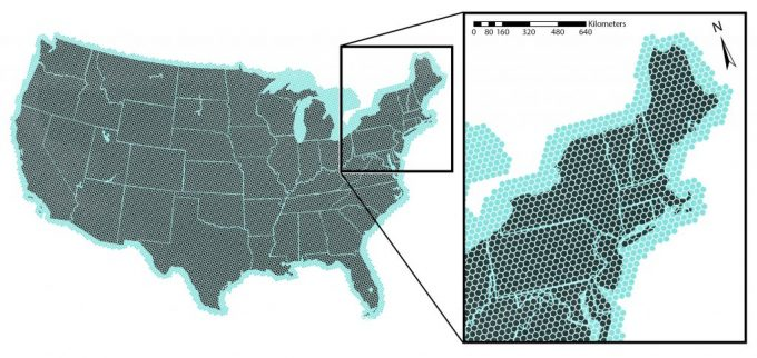 Figure 2.4. The EMAP base grid overlain on the United States. There are about 12,600 points in the conterminous U.S. with approximately 27 km between points in each direction. A fixed position that represents a permanent location for the base grid is established, and the sampling points to be used by EMAP are generated by a slight random shift of the entire grid from this base location.