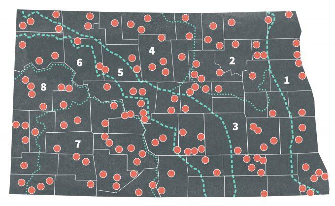 Figure 7.2. Biotic regions of North Dakota and random quarter section sample units. Dotted lines designate biotic regions (from Nelms et al. 1994).