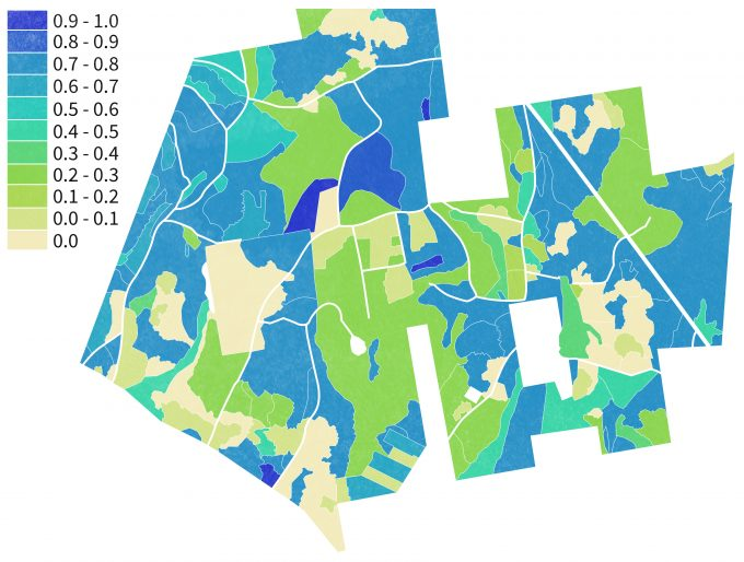 Figure 9.8. An example of a mosaic of habitat patches of varying suitability based on extrapolation of ground inventory data to digitized patches in Cadwell Memorial Forest, Pelham, Massachusetts.
