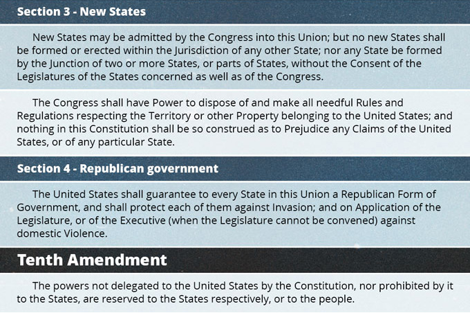 Key U.S. Constitution Provisions Concerning States