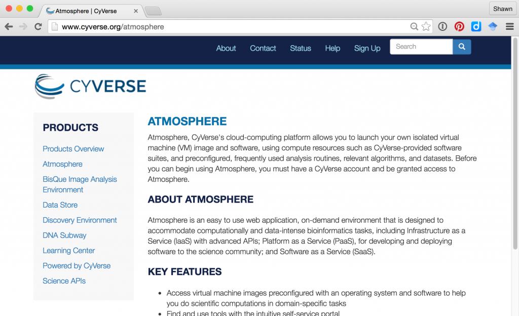 CyVerse Atmosphere Website homepage