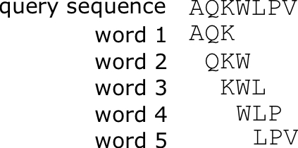 K-mer wordd list of the query sequence