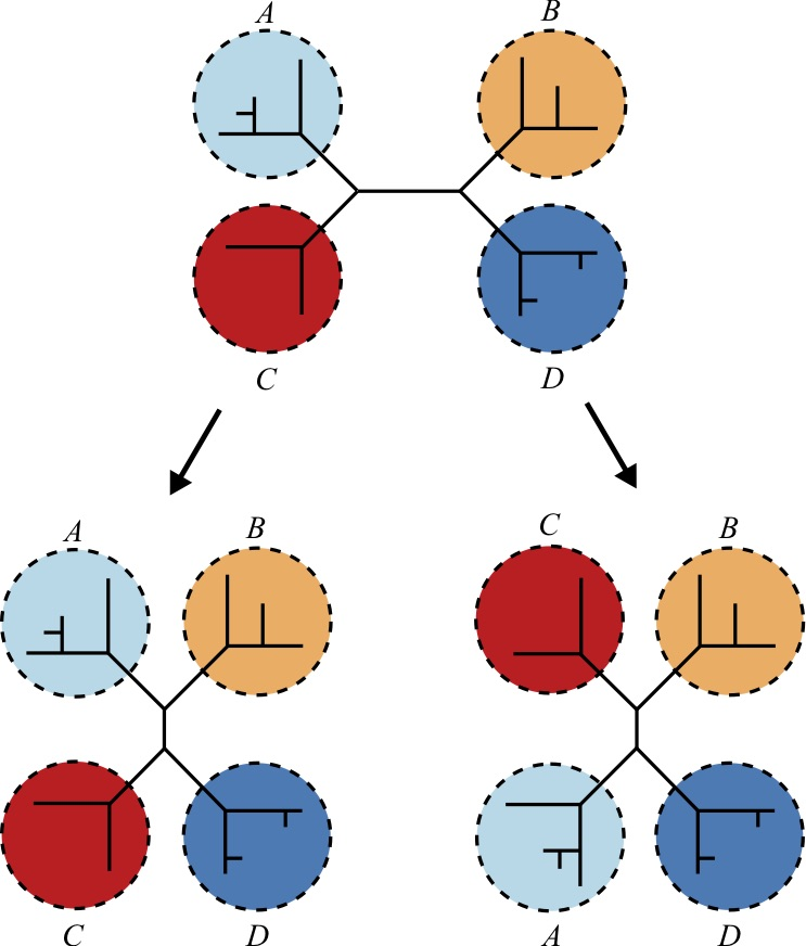 Interchanges within a tree - specifically one with four sub-trees