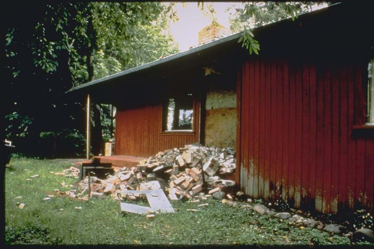 Brick chimney on this house in Petrolia, California, collapsed during the 1992 Cape Mendocino Earthquake