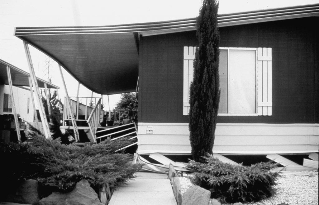 This manufactured home slipped off its supporting piers during an earthquake