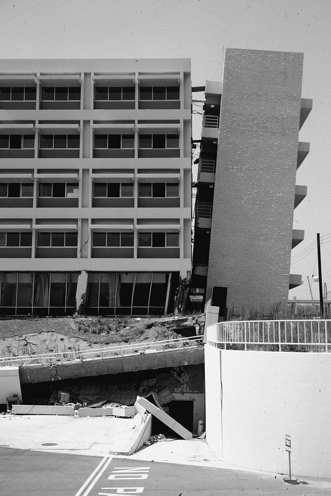 Damage to the Los Angeles County Olive View Medical Center as a result of the 1971 Sylmar, California, Earthquake.