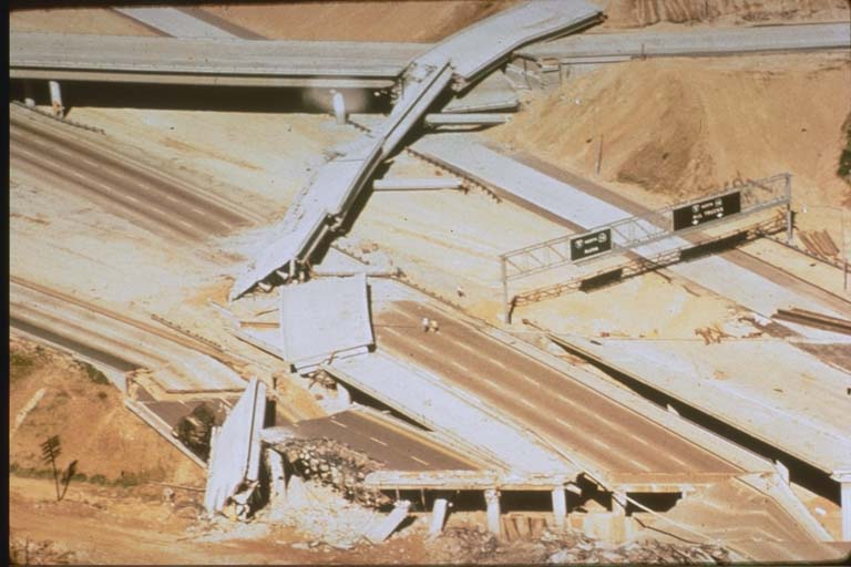 Damage to the Golden State Freeway (Interstate 5) and Foothills Freeway (Interstate 210) as a result of the 1971 Sylmar, California, Earthquake
