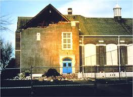 Damage to Molalla High School, an unreinforced-masonry (URM) building, from the Scotts Mills Earthquake of 1993