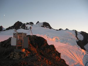 Global Positioning System (GPS) survey, part of the Pacific Northwest Geodetic Array (PANGA), of a rock outcrop on the Snow Dome on the north side of Mount Olympus, Olympic National Park