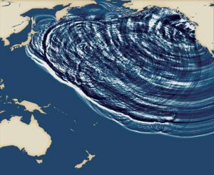 Computer model of Cascadia subduction-zone earthquake, from Kenji Satake and his colleagues at the University of Tokyo.